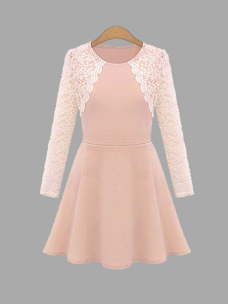 Plus Size Sweet Pink Lace Skater Dress