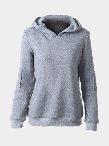 Pure Color Hooded Patch Design Sweatshirt