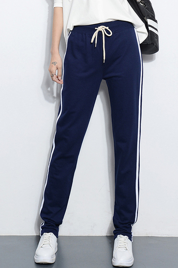 Blue Joggers With White Side Border