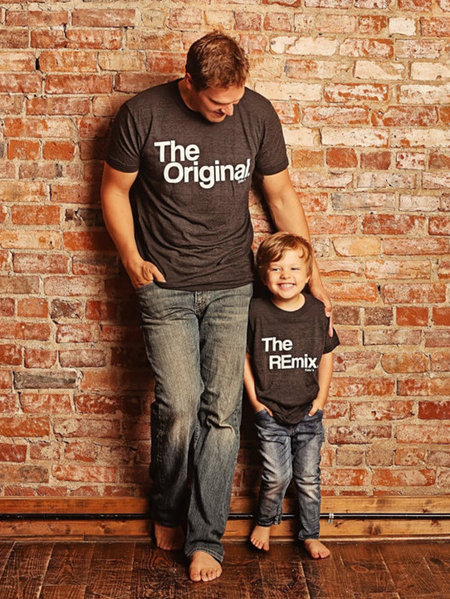 Daddy and Me Black Round Neck Letter Pattern Matching Tops