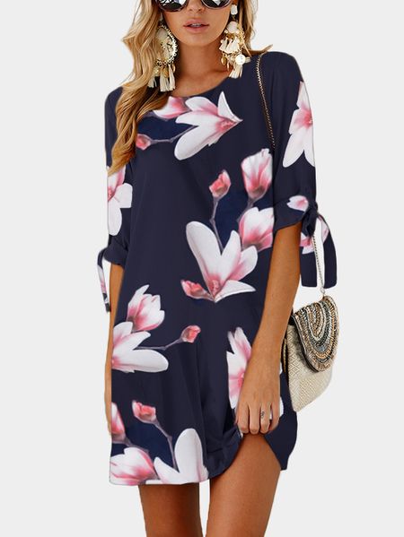 Random Floral Print Self-tie at Sleeves Mini Dress