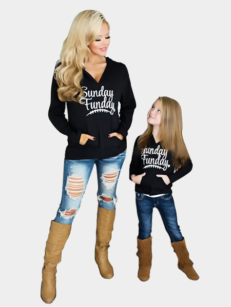 Mommy and Me Black Letter Pattern Christmas Matching Hoodies