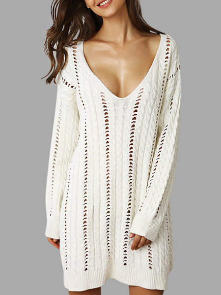 White Hollow Design Deep V Neck Long Sleeves Sweaters