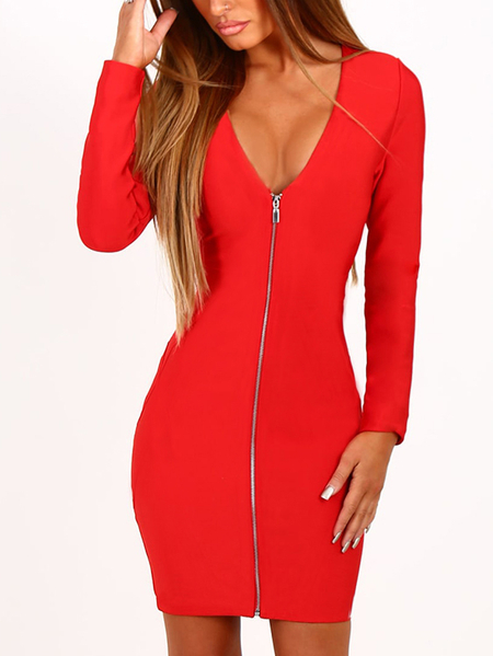 Red Zip Design V-neck Long Sleeves Dress