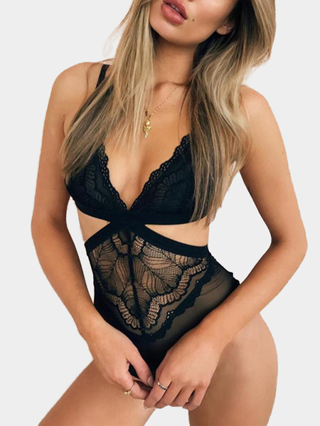 Black Sexy Cutout Waist Lace Teddy Bodysuit