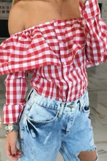 Red Grid Pattern Off The Shoulder Long Sleeves Blouses