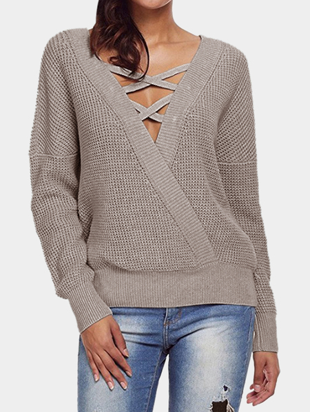 Coffe Cable Knit V-neck Long Sleeves Sweaters