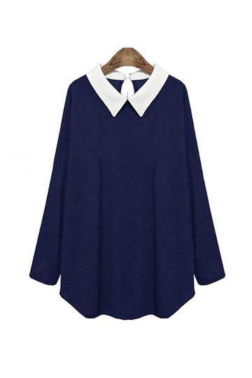 Navy Plus Size Top With Contrast Collar
