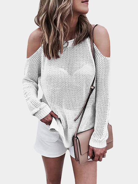 White Cold shoulder Long Sleeves Knitwear with Side Splited