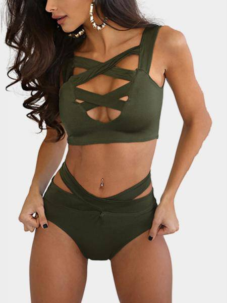 Army Cross Front Bodycon Bikini Swimwear
