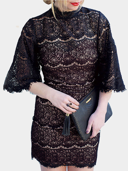 Bell Sleeves Lace Mini Dress