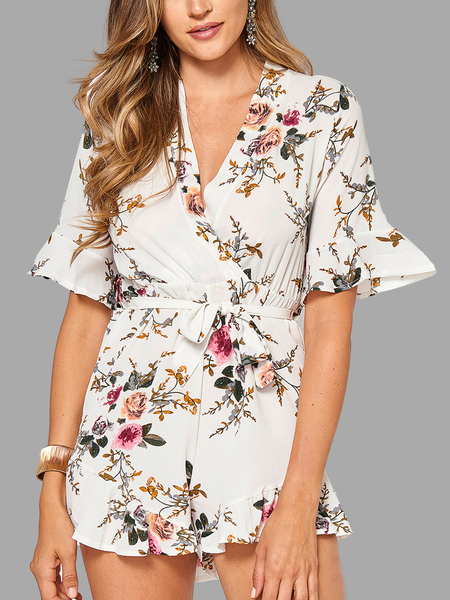 Wrap Front Random Floral Print Mini Playsuit With Half Sleeves