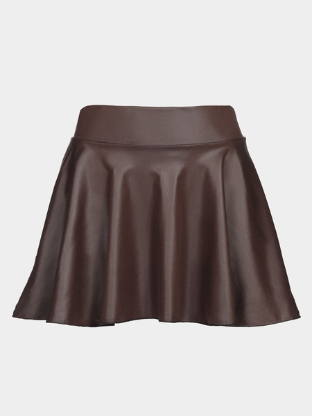 Coffee Leather Look Skater Skirt With Elastic Band