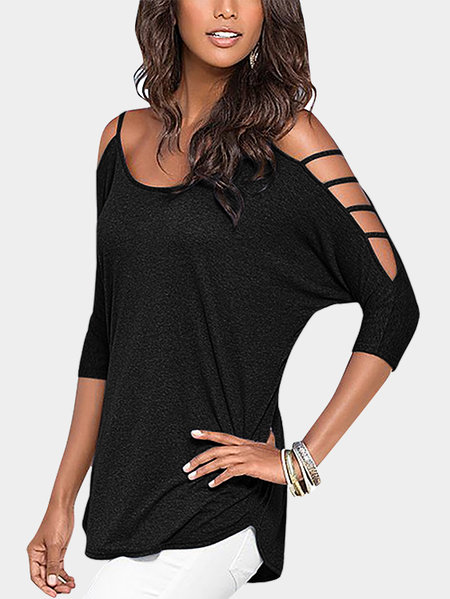 Black Cold Shoulder 3/4 Length Sleeve T-shirt with Strappy Detail