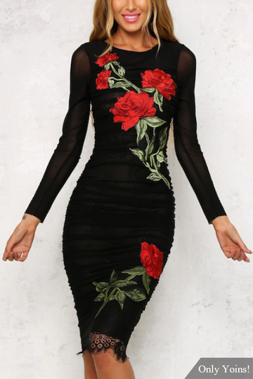 Black See Through Lace Details Rose Embroidery Pattern Long Sleeves Midi Dress