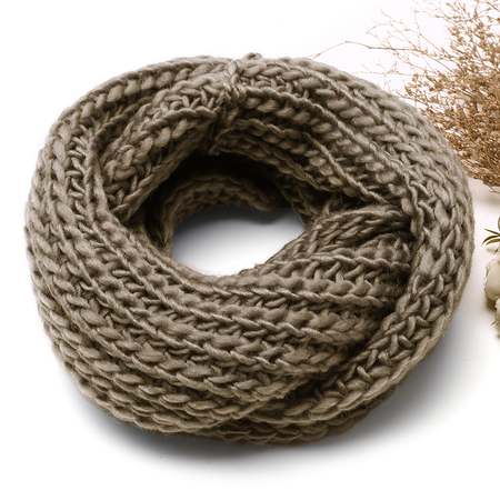 Khaki Cosy Knitted Infinity scarf