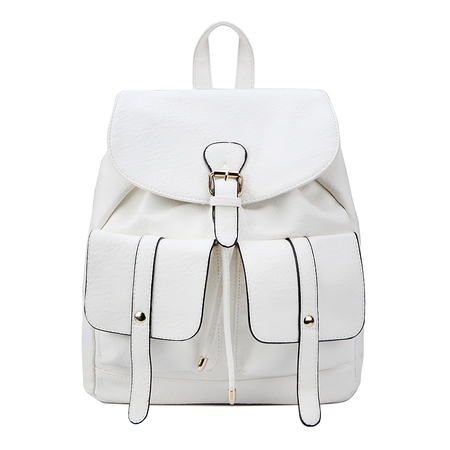 Two Front Pockets Leather-look Backpack in White