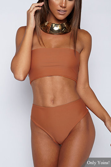 Casual Sleeveless Tube Top Bikini Set In Orange