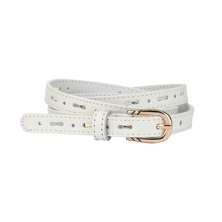 White Hollow Out Slim Belt