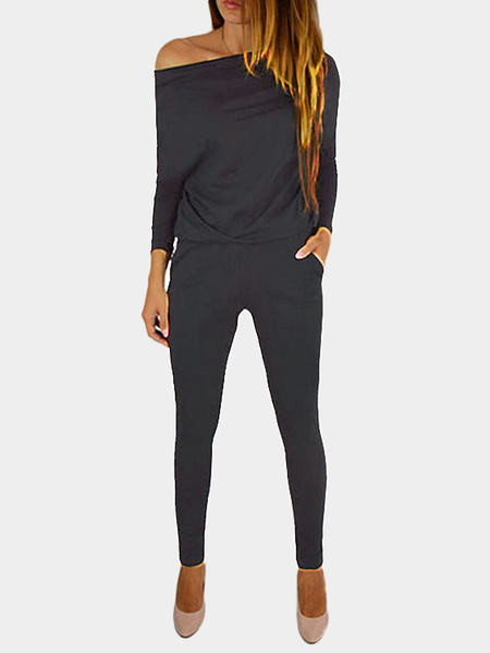Dark Grey Round Neck Elastic Waist Jumpsuits