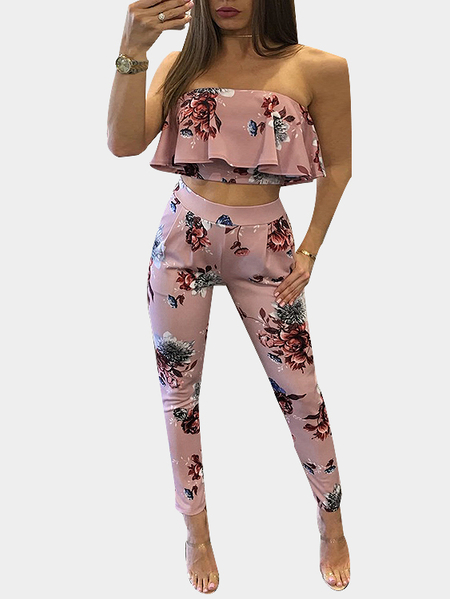 Random Floral Print Strapless Crop Top & Trousers Two Piece Outfits