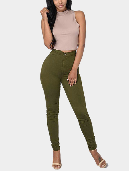 Green High Waist Causal Pants