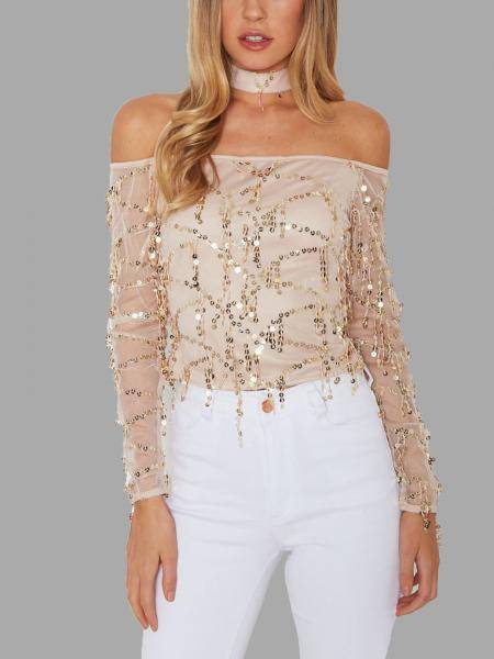 Off-the-shoulder Bright Lights Sequin Top with Neck Tie