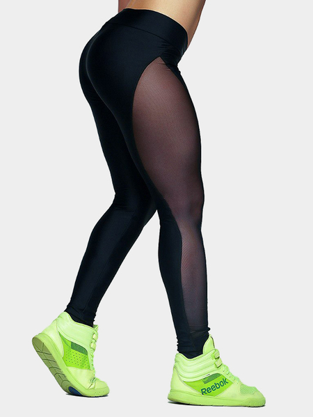 See-through Bodycon Sport Leggigns In Black