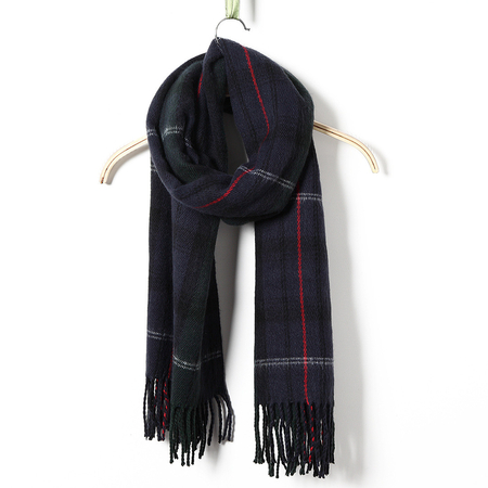 Dark Green Woven Plaid Scarves
