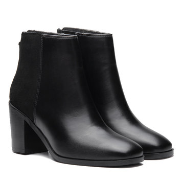 Black Patchwork Design Ankle Boots with Zipper Back