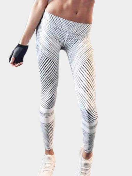 Stripe Pattern Yoga Bodycon Leggings