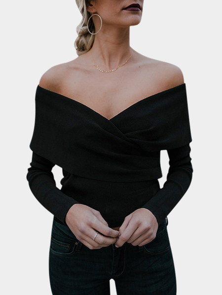 Black Crossed Front Design Off The Shoulder Long Sleeves Sweaters