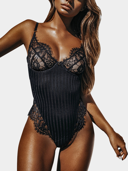 Black Eyelash lace Low Cut V-neck Teddy Bodysuit