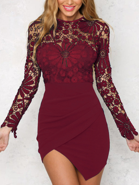 Burgundy Wrap Front Irregular Hem Long Sleeves Mini Dress with Lace Details