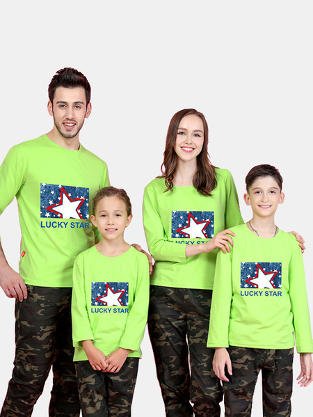 Family Look Printed Design Matching Tops in Green