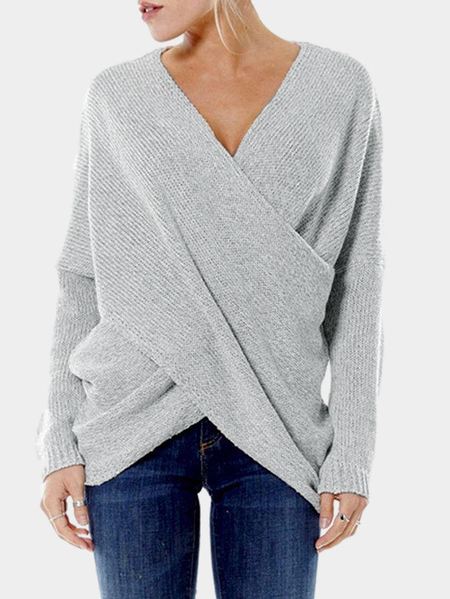 Grey Cross Front Irregular Hem Jumper