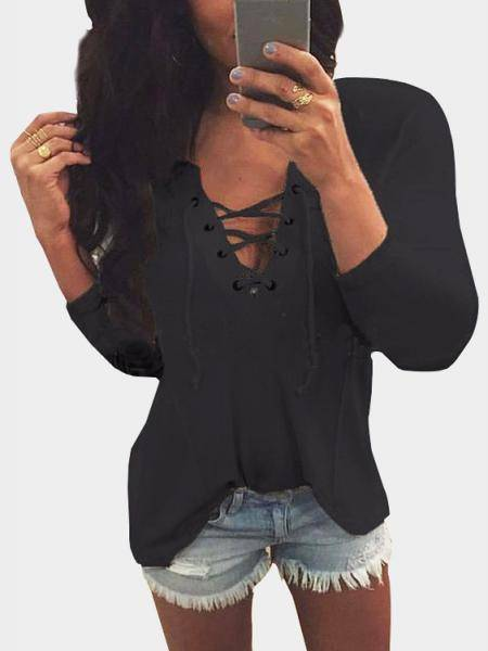 V Neck Lace Up Front Loose T-shirt In Black