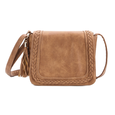 Brown Tassel Embellished  Shoulder Bag with Magnetic Closure