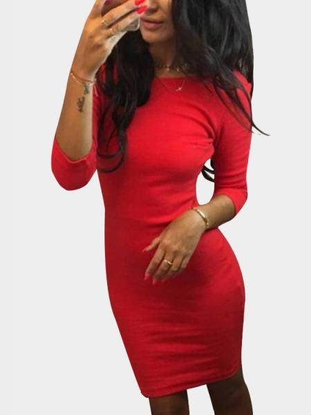 Red Backless Design Round Neck 3/4 Length Sleeves Dress