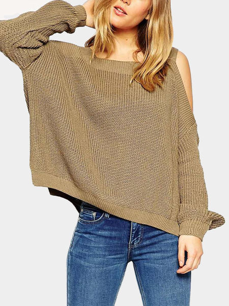 Coffee Cold Shoulder Irregular Hem Split Sweater