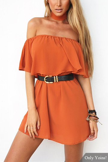 Off Shoulder Mini Dress with Layered Detail