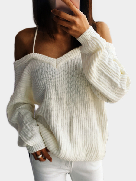 White Open Back V-neck Long Sleeves Sweater