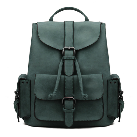Green Backpack with Drawstring Design and Magnetic Closure