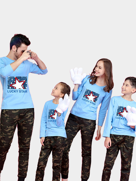 Family Look Printed Design Matching Tops in Blue