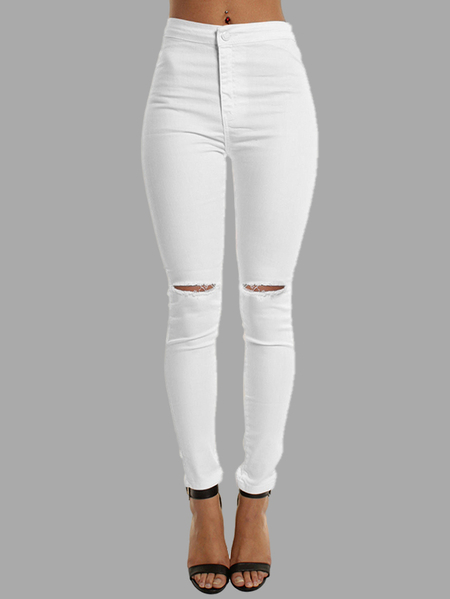 White High-rise Bodycon Knee Ripped Jeans