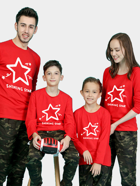 Family Look Red Round Neck Star Pattern Matching Sweatshirts