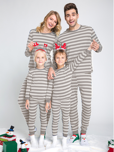Grey Stripe Pattern Bodycon Family Matching Christmas Pajamas Sets