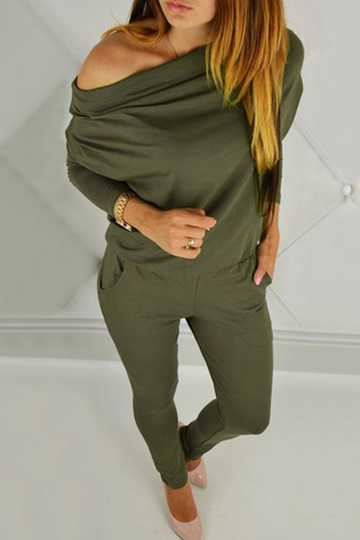 Army Green Elastic Waist Jumpsuits