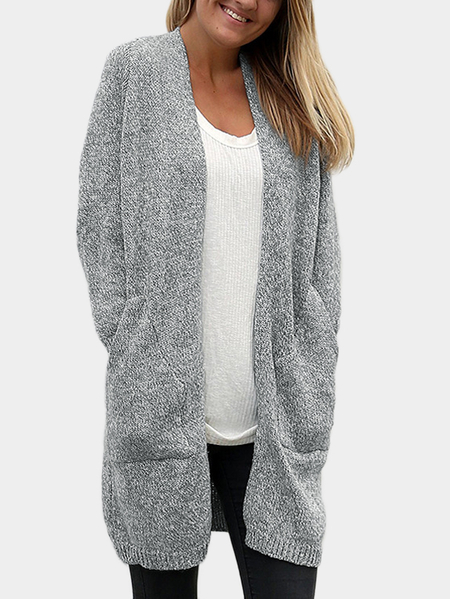 Grey Long length Cardigans with Two Pockets