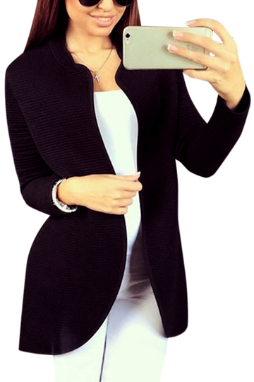 Fashion Black Long Sleeves Open Front Cardigan